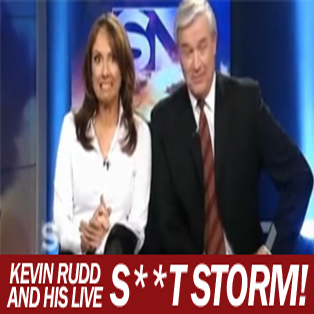 Kevin Rudd swears on live TV