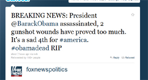 Hacked Fox News twitter account announces death of President Obama