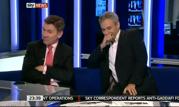 Blooper: Sky News panel succumb to an attack of the giggles