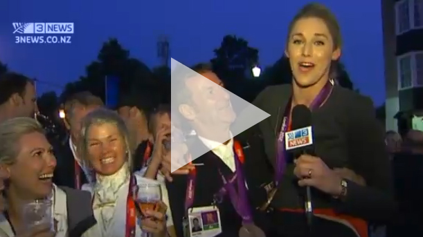 Blooper Watch: TV3 reporter joins in Mark Todd's celebrations LIVE on air