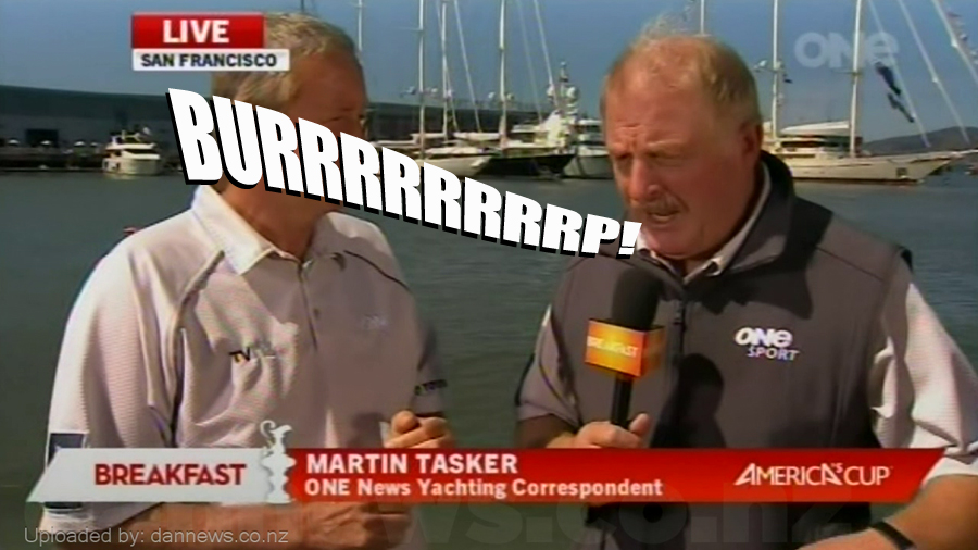 Blooper Watch: Live on air burp during the America's Cup