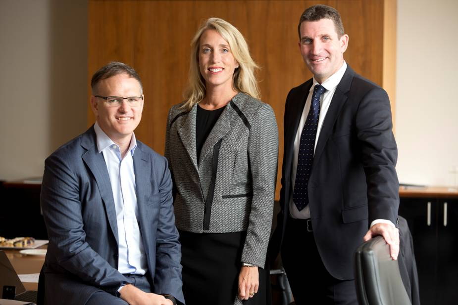 Michael Miller CEO APN News and Media Jane Hastings CEO TRN and Ciaran Davis CEO ARN