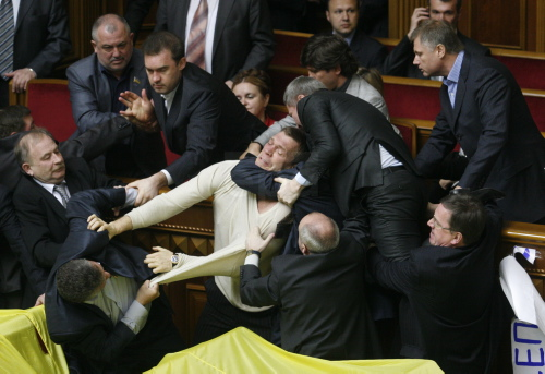 Ukrainian parliament hold a session on ratification agreement on Russian Black Sea Fleet