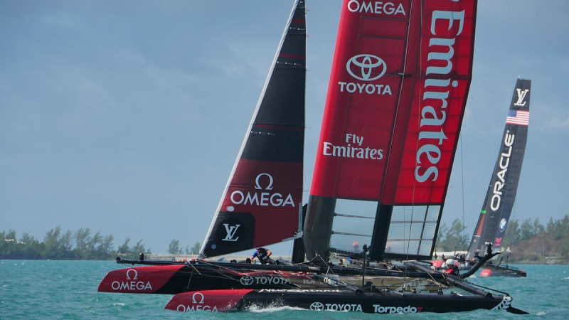 Emirates Team New Zealand sailing in preparation for the 3rd round of the Louis Vuitton Americas Cup World Series in Bermuda. 15 October 2015.  Photo credit: Hamish Hooper/Emirates Team New Zealand